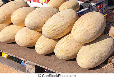 Fresh melons for sale at the farmers market