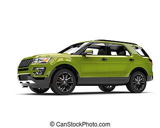 Fresh metallic green modern SUV car - low angle side view