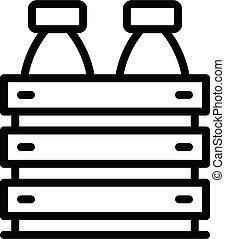 Fresh milk box icon, outline style