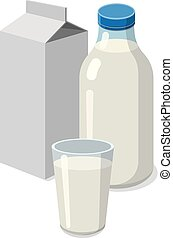fresh milk - illustration of set bottle and glass with milk