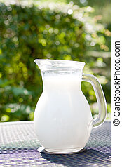 Fresh milk in glass jug on a table