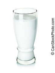 fresh milk in the glass isolated on white background