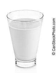 fresh milk in the glass on white background