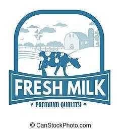 Fresh milk label or stamp