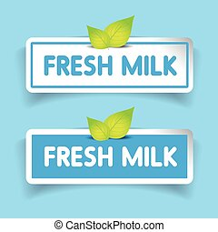 Fresh milk label vector