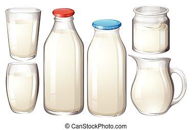 Fresh milk - Milk in glasses and bottles