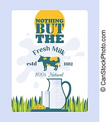 Fresh milk poster, vector illustration. Package decoration, ...