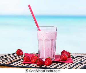 milk shake - Fresh milk shake with fruits, milk product