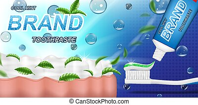Fresh mint toothpaste ads, mint leaves background. Tooth model and product package design for dental care poster or advertising. 3d Vector illustration.