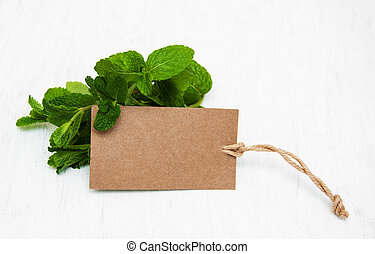Fresh mint with label