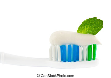Fresh Minty Toothbrush - Closeup of the head of a toothbrush...