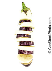 Fresh mix sliced purple and white eggplant in one , isolated on white background