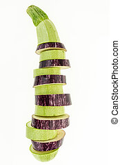 Fresh mix sliced purple eggplant and zucchini in one , isolated on white background
