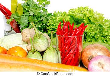 Fresh Mix vegetables on white isolate background