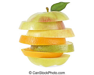 Fresh mixed fruit on a white background. Slices fruit.