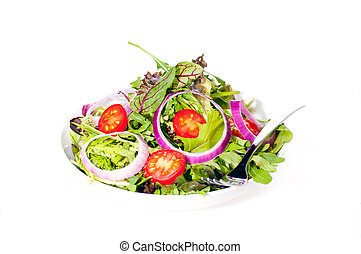 Fresh mixed salad with onions