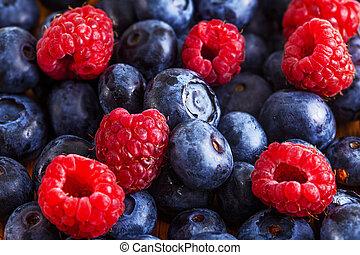 Fresh mixed summer berries - blueberry, raspberry and  blackberry