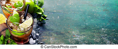 Fresh mojito drink - Ingredients for making mojitos (ice...