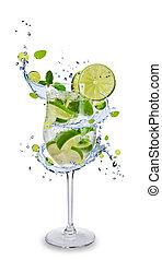 Fresh mojito drink with splash spiral around glass. Isolated...