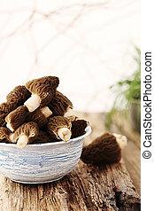 mushrooms on a blue plate
