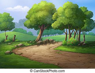 Fresh Morning - Illustration  walk in the park in morning