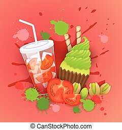 Fresh Muffin With Cocktail Logo Cake Sweet Beautiful Cupcake Dessert Delicious Food