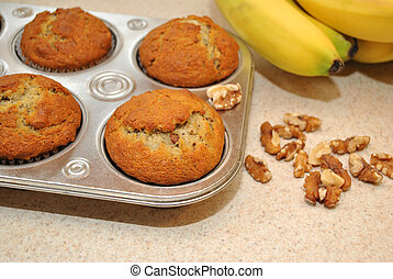 Fresh Muffins with Ingredients