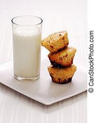 fresh muffins with milk