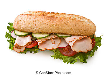 Fresh roasted turkey/chicken sandwich with lettuce, tomatoes, cucumbers and radishes isolated on white