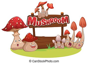 Fresh mushroom with happy face