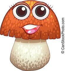 Fresh mushroom with happy face