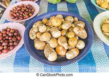 Fresh mushrooms called Amanita vahinata for sale at Thai local market