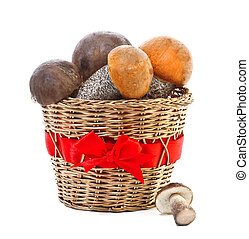 Fresh mushrooms in a basket isolated on white background
