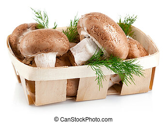 fresh mushrooms in basket with leaves dill