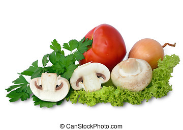 Fresh mushrooms with vegetables
