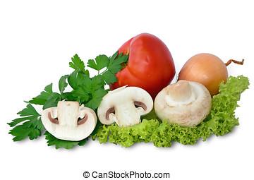 Fresh mushrooms with vegetables