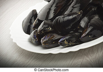 mussel - Fresh mussel close up on the white background