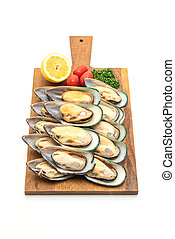 fresh mussel on white background