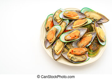 Fresh mussel on white background .