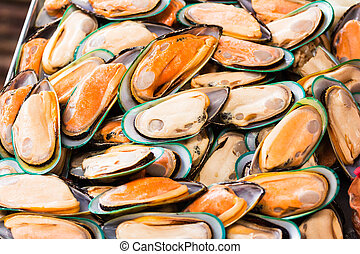 fresh mussels at seafood market