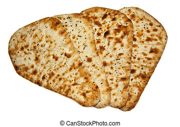 Fresh naan bread - Four fresh naan bread isolated over white
