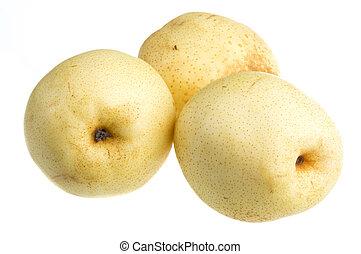 fresh nashi pear on a white background