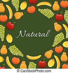 Fresh natural fruits vector poster