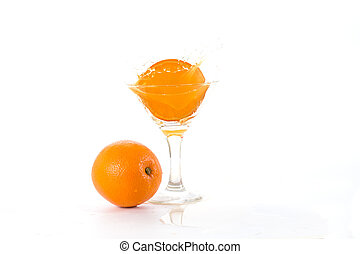 natural juice from the orange into a glass