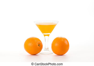 fresh natural juice from the orange into a glass
