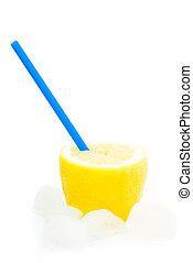 fresh natural lemon juice with ice