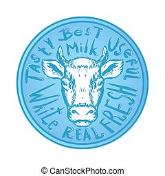 fresh natural milk logo graphic with cow illustration