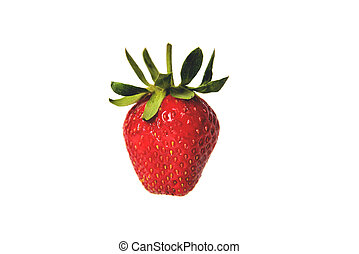 Fresh natural strawberry on white background, isolate, close-up