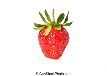 Fresh natural strawberry on white background, isolate