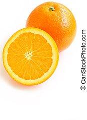 Fresh Navel Orange on White Background - A close up shot of...